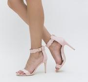 sandale elegante cu toc roz